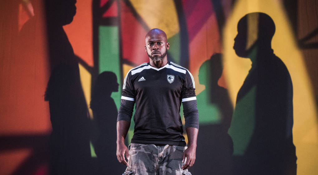 Marc Bamuthi Joseph in 'peh-LO-tah', a dance-theater piece about soccer and politics at YBCA.