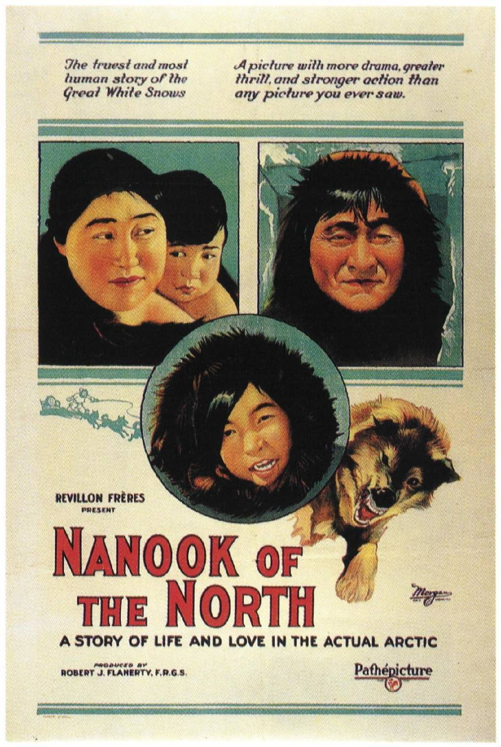 Promotional poster for 'Nanook of the North,' directed by Robert J. Flaherty, 1922.