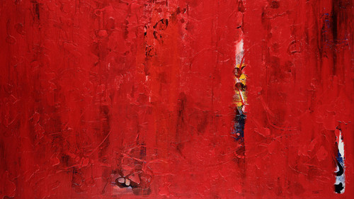 "Detail of ""seeing through fixed"" by Palo Alto abstract expressionist painter Sahba Shere."