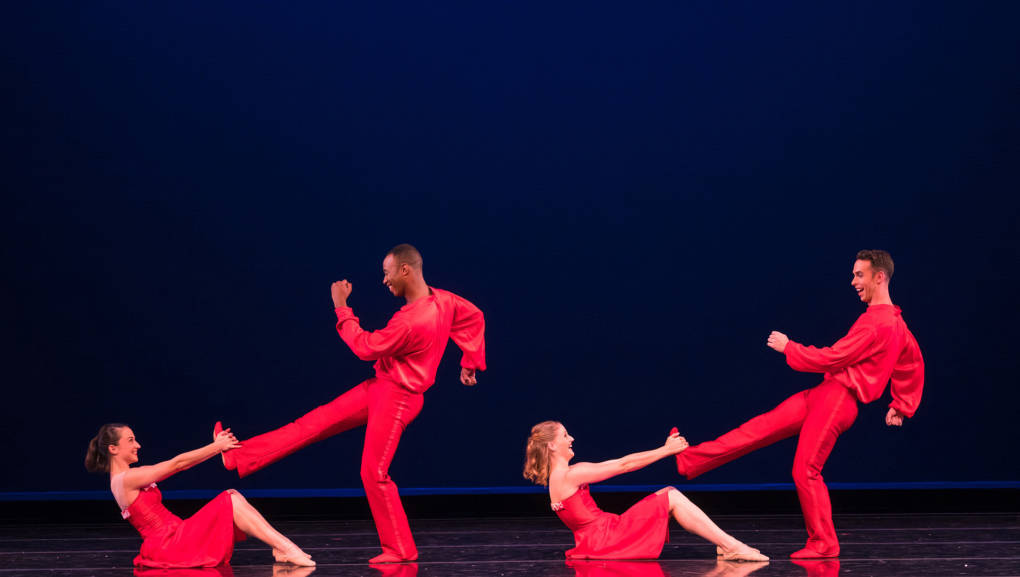 Terez Dean, Dustin James, Tessa Barbour, and Ben Needham-Wood in Nicole Haskins' J-I-N-G-L-E Bells, from Smuin's '2016 The Christmas Ballet'
