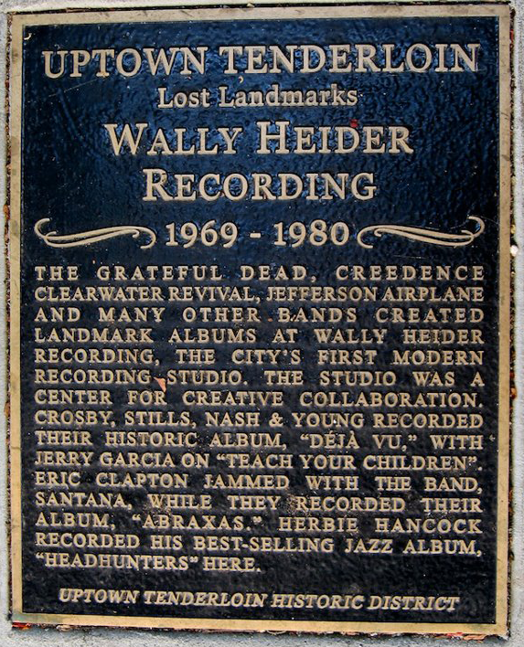 The plaque outside the current Hyde Street Studios.