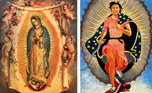 "The original Lady of Guadalupe next to ""Portrait of the Artist as the Virgin of Guadalupe"" (1978) by Yolanda Lopez."