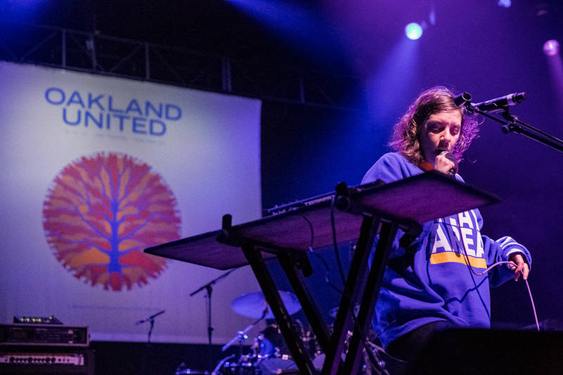 Merrill Garbus of tUnE-yArDs performs at the Oakland United benefit on Dec. 14, 2016.