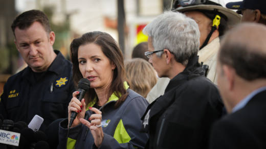 Oakland Mayor Libby Schaaf at the Oakland warehouse known as the Ghost Ship.