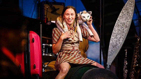 Lily (Katy Owen) reunites with her cat in Kneehigh's production of '946: The Amazing Story of Adophus Tips' at the Berkeley Rep.