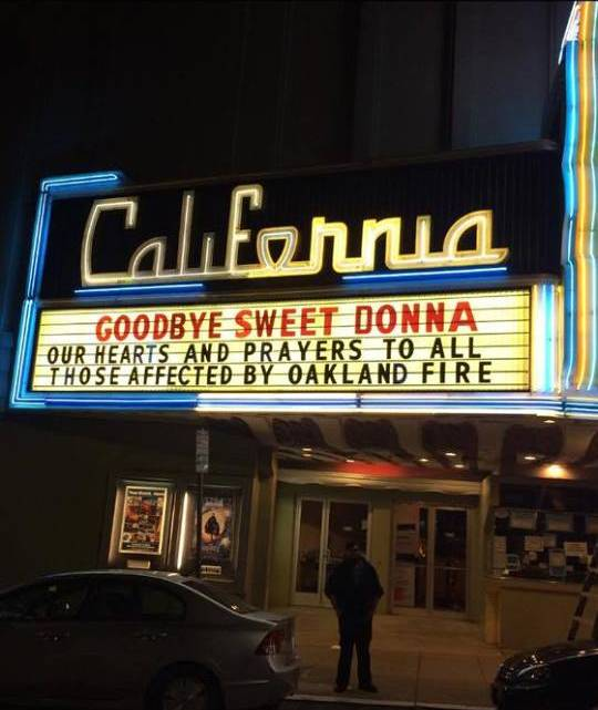The marquee at Landmark's California Theater in Berkeley after Kellogg's death was confirmed. Kellogg used to work at the theater