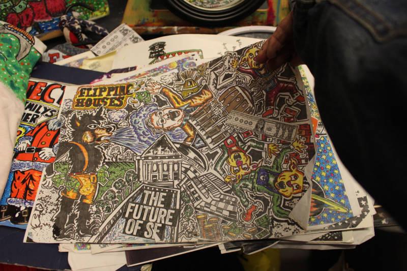 """Artwork by """"Little"""" Eddie Sanchez."""