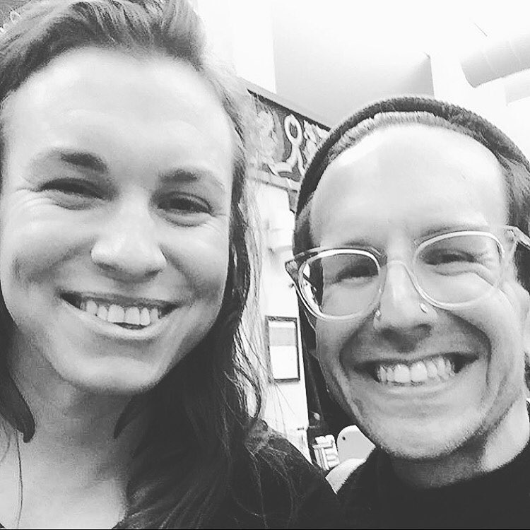 Em (right) with Laura Jane Grace of the band Against Me!, who issued a widely-read remembrance of Em.
