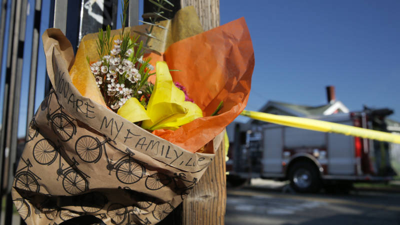 A memorial outside the Oakland warehouse venue Ghost Ship after a fire killed 36 people on Dec. 2.