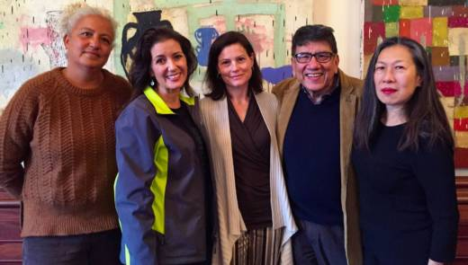 Arts and civic leaders announce grants for arts groups in Oakland (l-r) East Side Cultural Alliance Director Elena Serrano, Oakland Mayor Libby Schaaf, Director, Arts Strategy & Ventures, for the Kenneth Rainin Foundation Shelley Trott Oakland Cultural Director Roberto Bedoya, and CAST Director Moy Eng