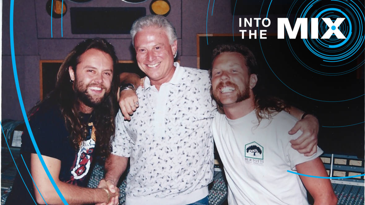 Arne Frager with Lars Ulrich and James Hetfield of Metallica