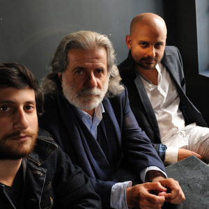 Pianist Rami Khalife (left), oudist Marcel Khalife (center), and percussionist Bachar Khalife
