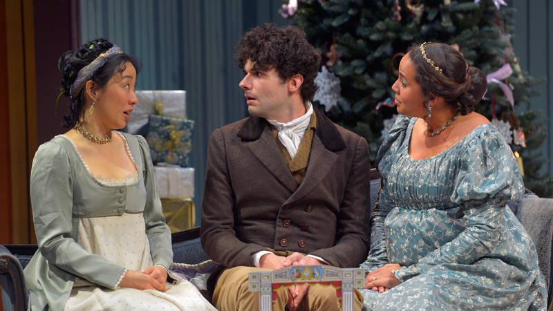 'Miss Bennet: Christmas at Pemberley' features Elizabeth Darcy (Cindy Im), Arthur de Bourgh (Adam Magill), and Jane Bingley (Lauren Spencer)
