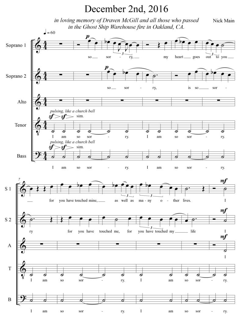 Sheet music for song dedicated to McGill