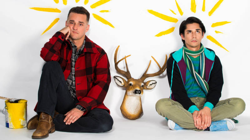 Brothers Joseph (Eric Kerr) and Charles (Stephen Kanaski) sit between the fake deer that started their downfall in New Conservatory Theatre's production of 'Sons of the Prophet' by Stephen Karam.