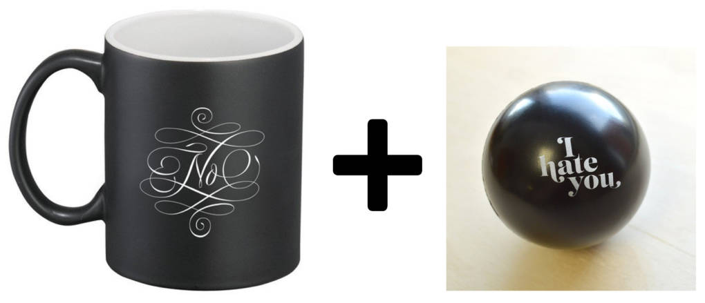 Negative Mug and stress ball from Fairgoods