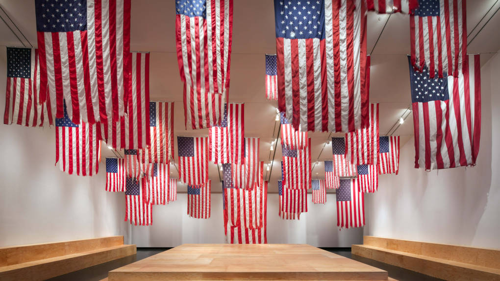 Installation view of Mel Ziegler's 'Flag Exchange' in 'A More Perfect Union' at the Tang Museum, 2016.