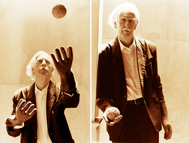 Portraits of David Ireland with Dumbball, 1998.