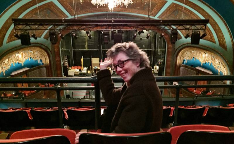 Carole Shorenstein Hayes in her favorite seat in the upper balcony at the refurbished Curran Theater