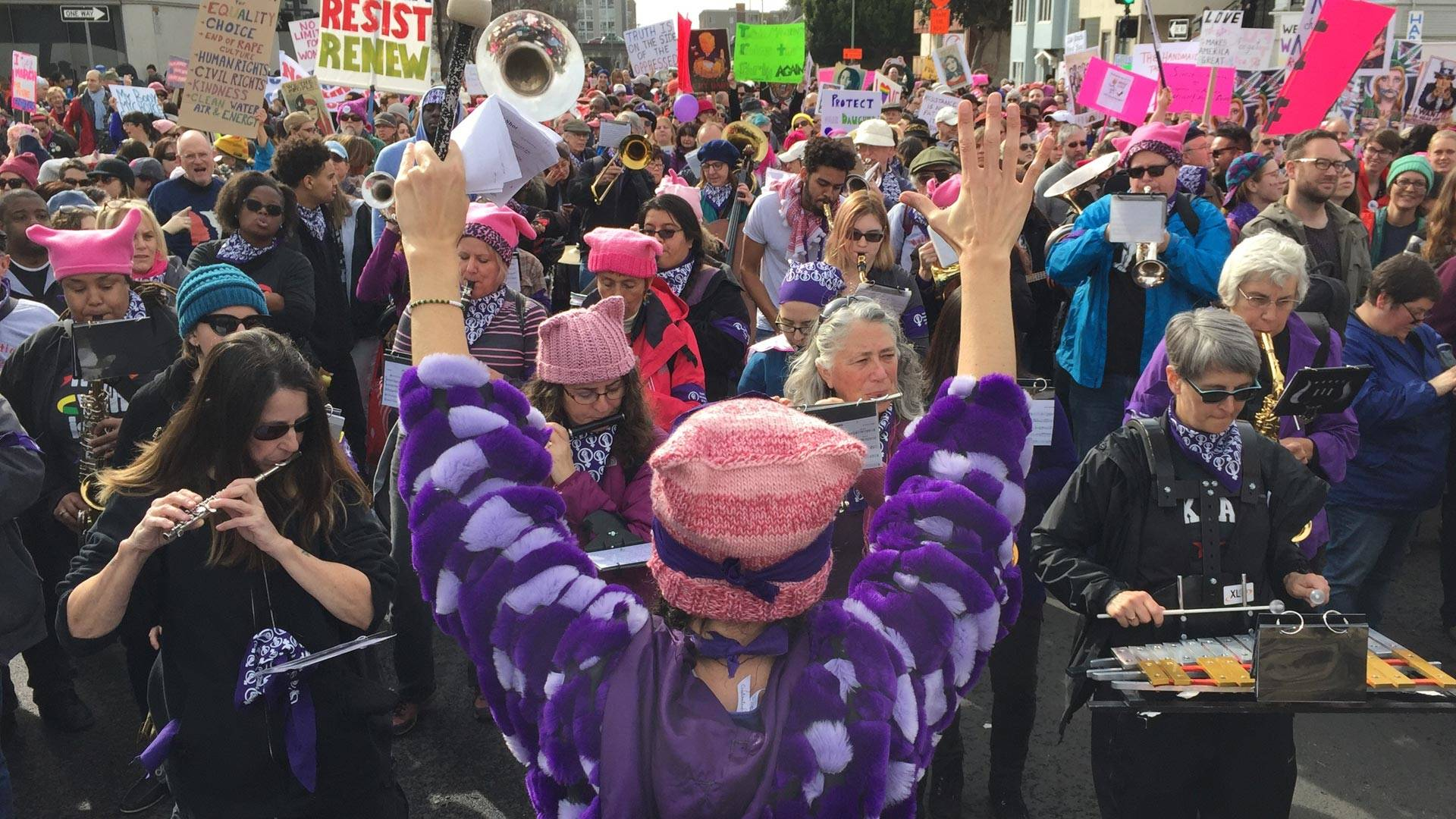 The Nasty Woman Band keeps spirits up with music at the Women's March in Oakland, Jan. 21, 2017.