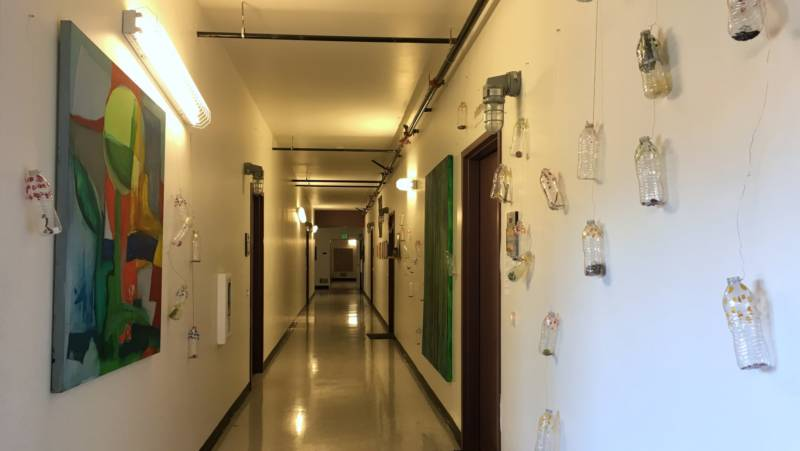 Artist tenants at the Tannery Arts Center are enthusiastically encouraging to install art in the hallways.