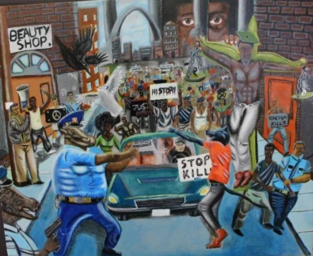 """Bay Area police unions joined law enforcement groups around the country calling on House Speaker Paul Ryan to remove this painting from the US Capitol complex. The artist's father Jonathan Pulphus says his son is taking the controversy in stride. """"He understands that freedom of speech applies to everyone. They are entitled to their own opinion as well."""""""