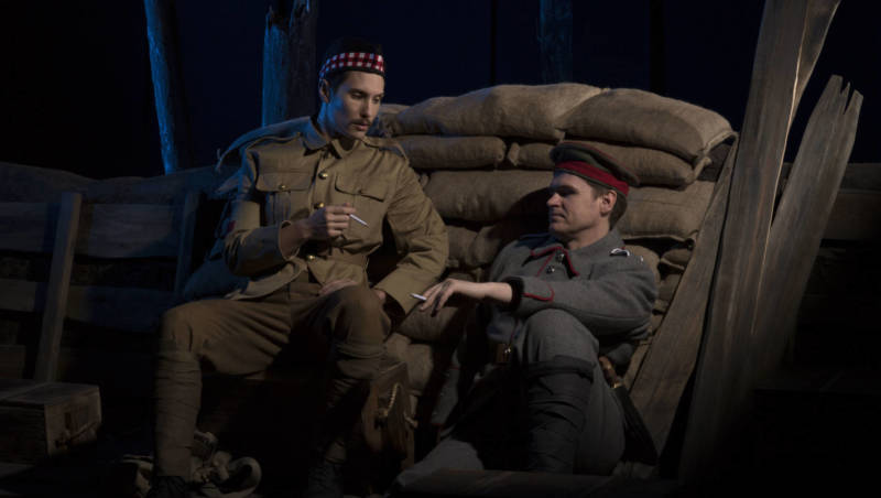 Colin Ramsey (Father Palmer) and Kirk Dougherty (Nikolaus Sprink) in Opera San Jose's 'Silent Night'.