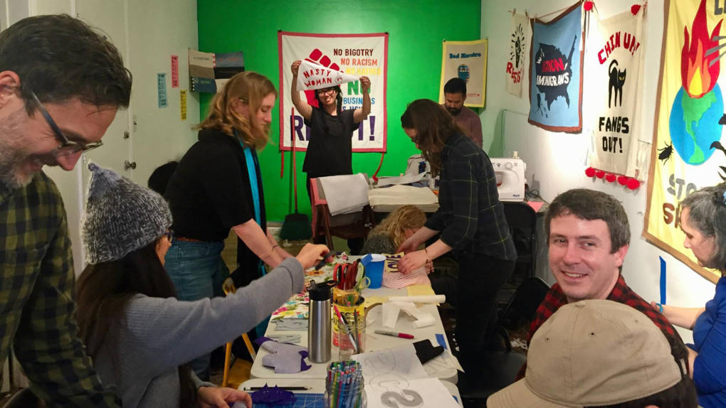 At the Reap What You Sew banner-making workshop at Royal NoneSuch Gallery.