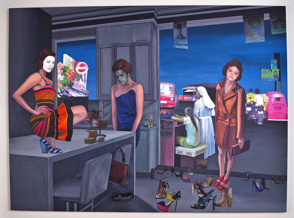 """What Could've Been or Not, 2011. Acrylic & image transfer on canvas, 54"""" x 40"""" (Photo: Ramon Pintado)"""