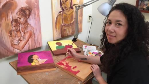 Janine Macbeth, at work on an illustration for a Blood Orange Press book for kids