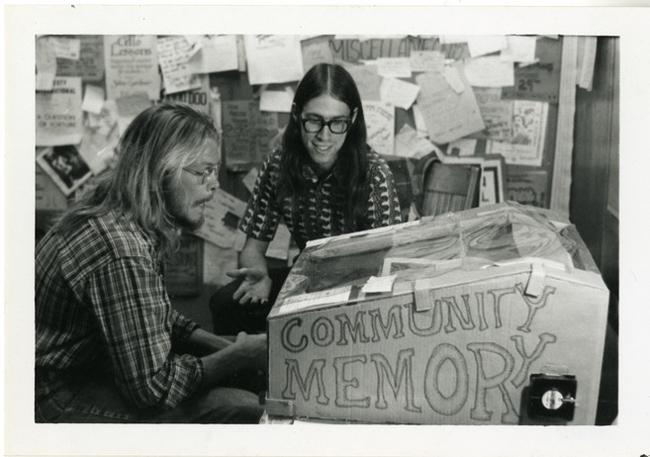 Community Memory terminal at Leopold's Records, Berkeley, California, c. 1974.