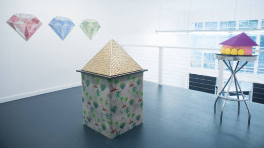 Installation view of Hadar Kleiman's 'Premium Emporium,' with terrazzo diamonds, 'Pyramid' and 'If The Tooth Fits,' from left to right.