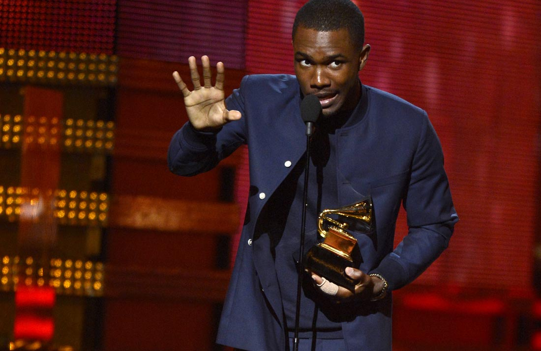 Frank Ocean accepts the Best Urban Contemporary Album award for 'Channel Orange' at the 55th Grammy Awards in 2013.