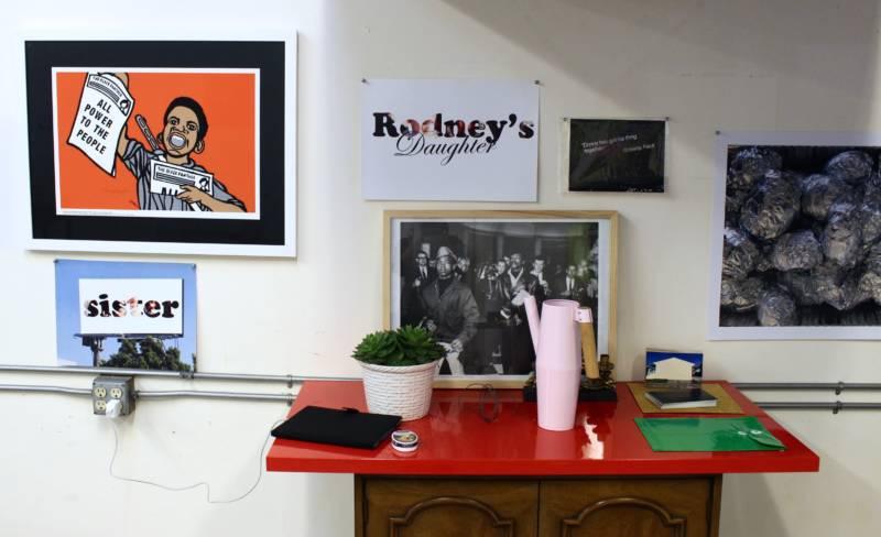 Inside Sadie Barnette's studio.