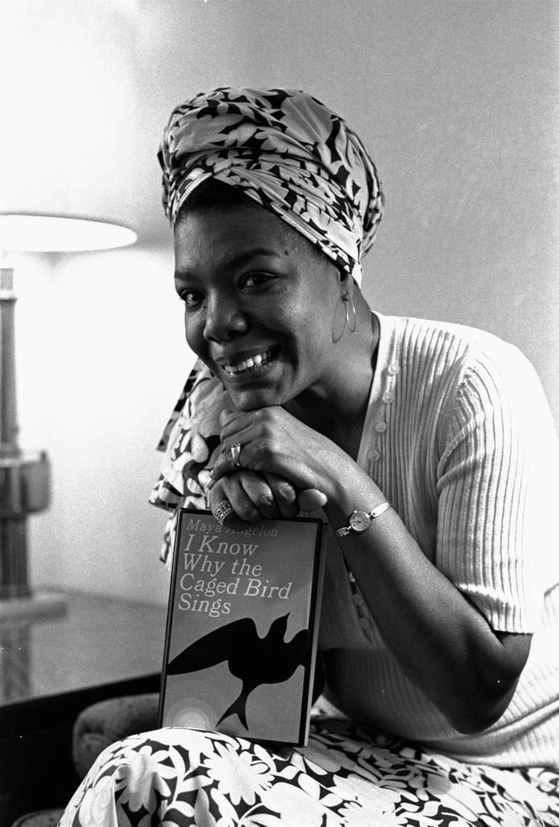 """Maya Angelou, a multi-talented ex-Arkansan, has been hired as Hollywood's first black woman movie director, Nov. 3, 1971.  She'll write the script and music, as well as direct """"Caged Bird,"""" which is based on her best-selling 1969 autobiography.  She's been a professional singer, dancer, writer, composer, poet, lecturer, editor, and San Francisco streetcar conductorette."""