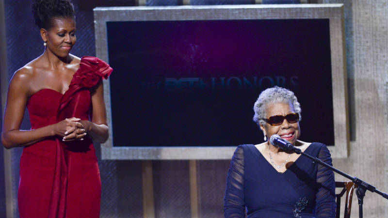 Michelle Obama and Maya Angelou speak during the BET Honors 2012