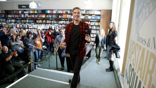 PewDiePie signs copies of his new book 'This Book Loves You' at Barnes & Noble New York in 2015.