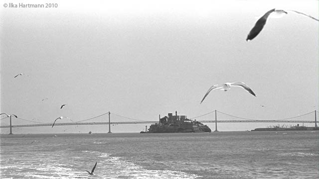 Alcatraz during the occupation of 1969-1971. This photograph and others by Ilka Hartmann are on display as part of Cement Prairie, an exhibition about Native Americans in the South Bay.