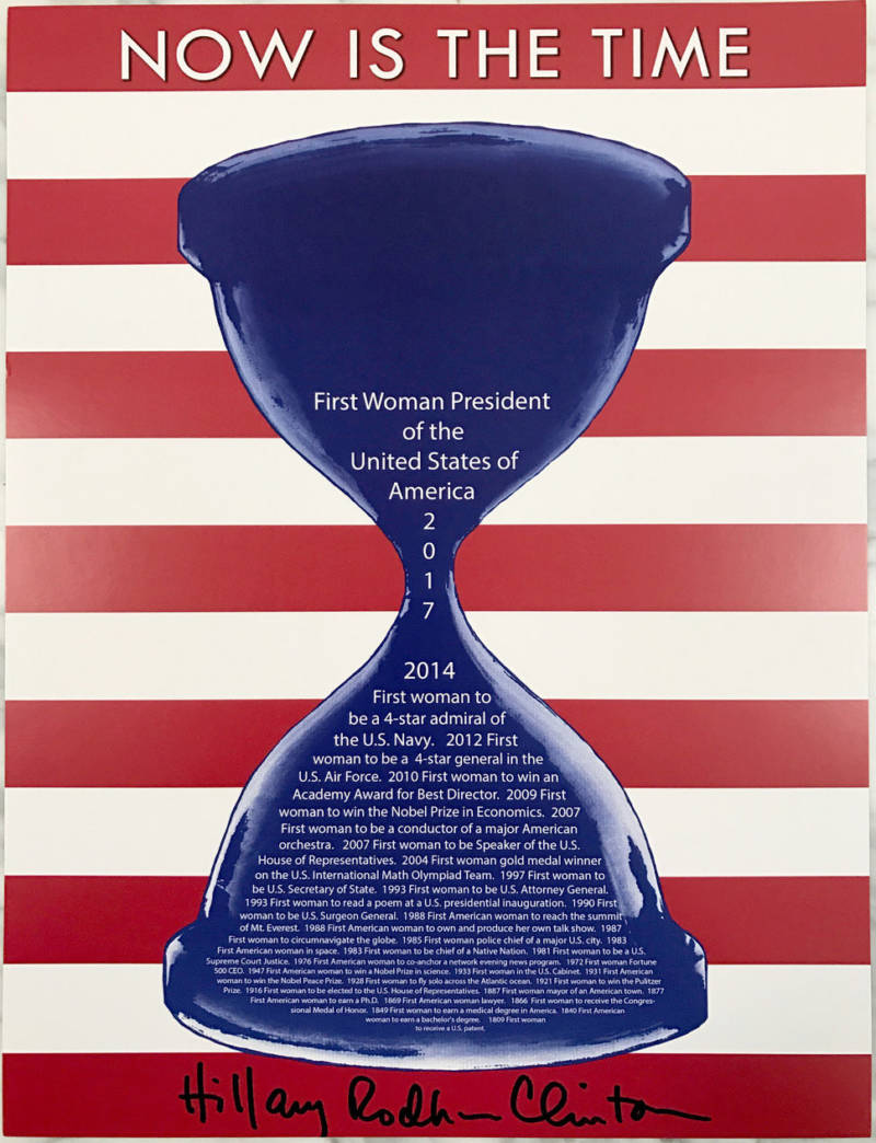 "Drue Kataoka on the iconic poster she created for the Hillary Clinton presidential campaign: ""I was thinking about how women's accomplishments in history have been like grains of sand ― numerous yet almost invisible."""