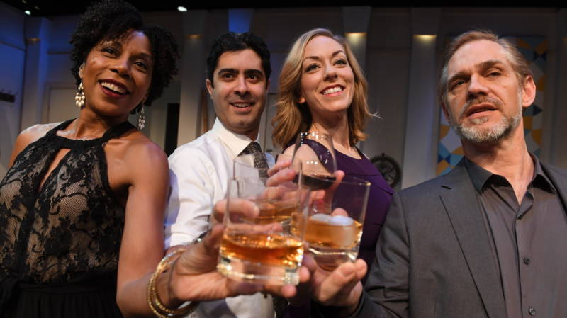 A Manhattan dinner party starts off in a celebratory mood, before the conversation devolves into tribal politics, in Disgraced, finishing a run at the San Jose Stage Company.