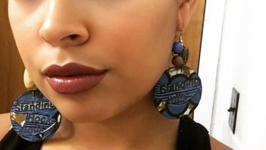 These Standing Rock earrings by T.K. Butler are part of the Oakland-based jewelry designer's line of wearable art protesting key issues in the Trump agenda.
