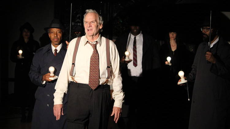 Willy (Julien López-Morillas) is haunted by (left to right) Charley (Norman Gee), Stanley (William Oliver III), Mysterious Woman (Margherita Ventura) and Bernard (J Jha) in the Ubuntu Theater Project's production of 'Death of a Salesman' by Arthur Miller.