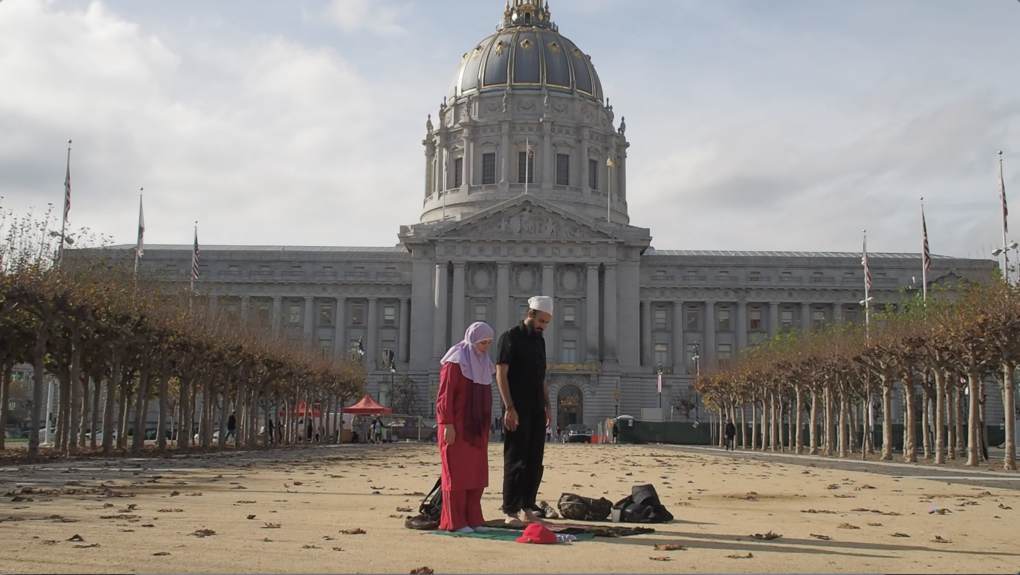 Minoosh Zomorodinia and Zulfikar Ali Bhutto performing 'Side by Side' in front of San Francisco City Hall.
