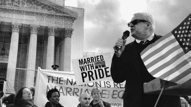 Cleve Jones speaks outside the Supreme Court in June 2013