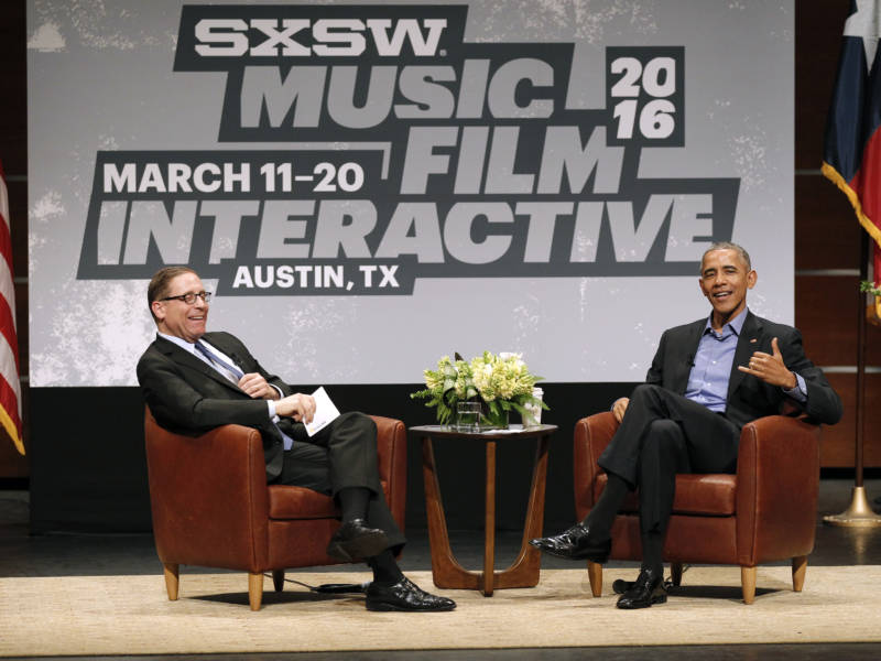 Former President Barack Obama attendsSouth by Southwest Interactive for a conversation withEvan Smith, Editor-in-Chief and CEO of the Texas Tribune news service