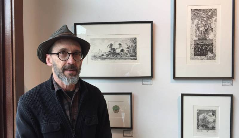 David Avery did four etchings for the show 'Creation and Resistance' at Acción Latina