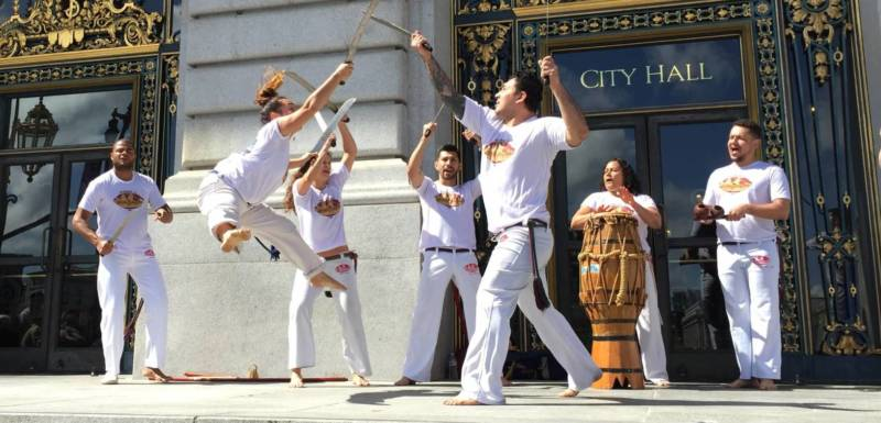 Abada Capoeira performed at the arts rally at San Francisco City Hall