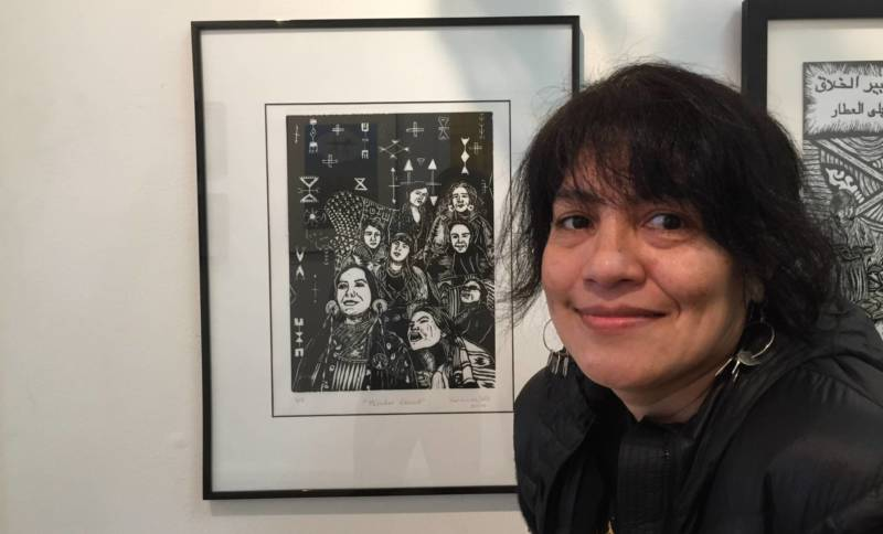 "Veronica Solis' linocut ""Winter Count"" is part of the show 'Creation and Resistance'"