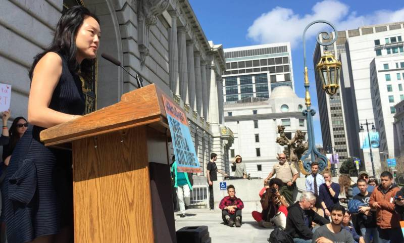 San Francisco Supervisor Jane Kim promised to work to boost city funding for the arts at a San Francisco Arts Advocacy Day rally