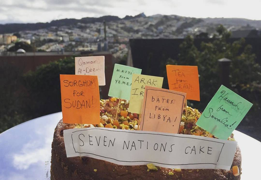 "Protest Cakes' ""Seven Nations Cake,"" served at the San Francisco Civic Center ""No Ban, No Wall"" protest on Feb. 4."